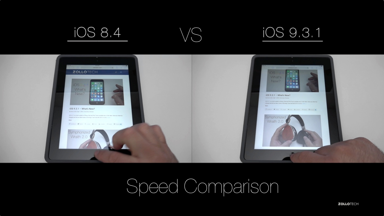iOS 8 vs iOS 9 – iPad Speed Comparison