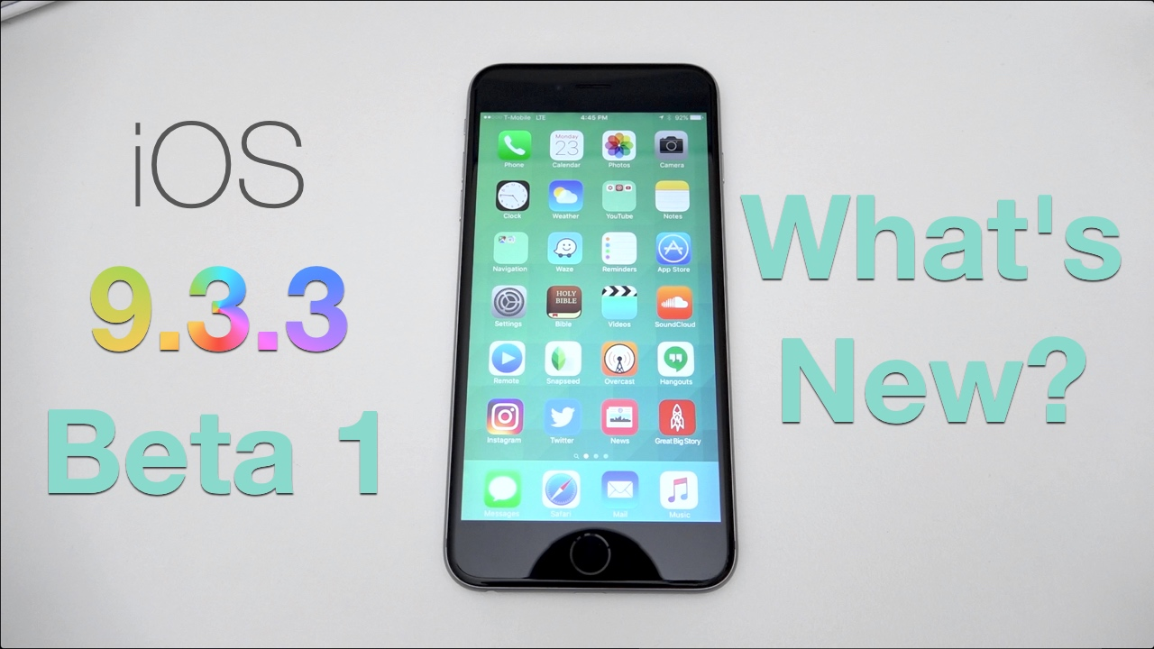iOS 9.3.3 Developer Beta 1 – What's New?