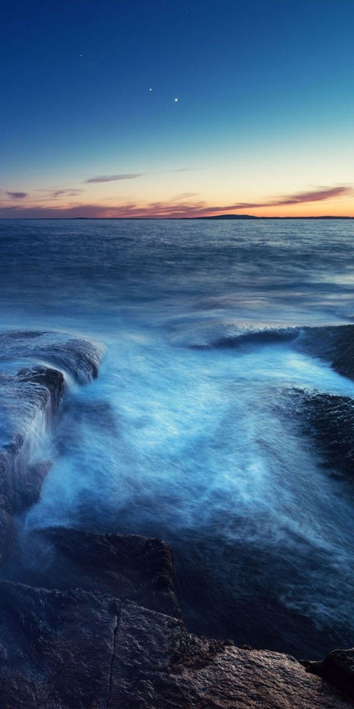 flowing water at sunset